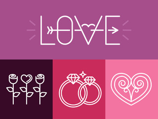 Vector outline love signs and logos
