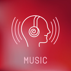 Vector music logo in outline style