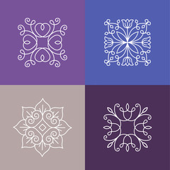 Vector abstract emblems - outline monograms