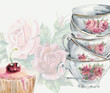 Tea time card. Cup and cake. - 72057300