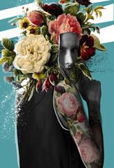 Fashion model face flowers on head
