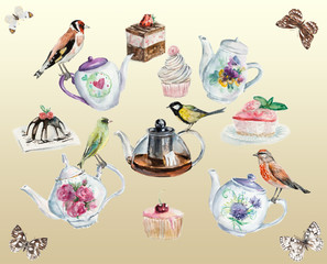 Tea time background. Invitation to tea drinking.