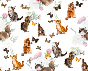 Seamless cats & butterflies.