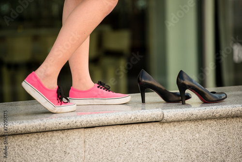 Woman in sneakers