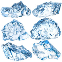 Pieces of ice isolated on white background. With clipping path