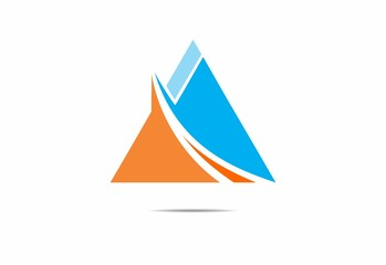 finance triangle pyramid  orange blue abstract vector logo
