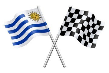 Flags: Uruguay and checkerboard