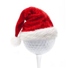 Weihnachtsmütze auf Golfball