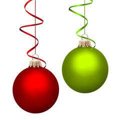 Rote und Grüne Weihnachtskugel