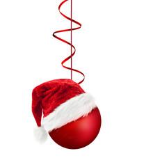 Weihnachtsmütze auf Weihnachtskugel