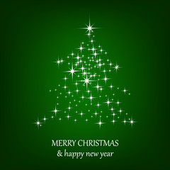 Christmas green vector background with christmas tree and stars