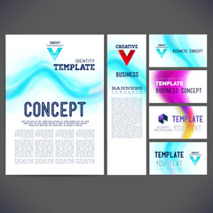 Set corporate identity kit or business kit with artistic