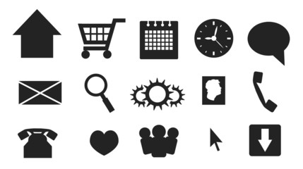Simple web and multimedia icons and buttons