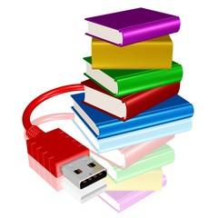 Bücherstapel mit USB-Stecker