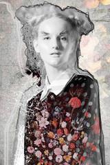 grunge pink art portrait woman face