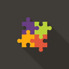 Four Puzzle Flat Icon over Dark