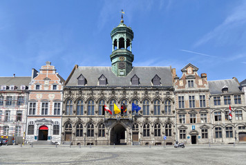 Gothic style City Hall in Mons, Belgium