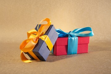 dark blue and red gift boxes