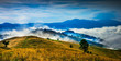Amazing mountain landscape with fog and a haystack - 72062199