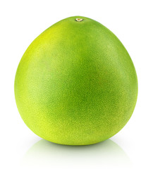 Green pomelo citrus fruit isolated on white with clipping path