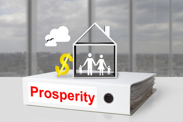 office binder prosperity house family dollar symbol