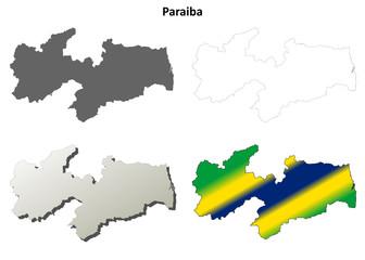 Paraiba blank outline map set