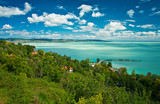 Lake Balaton in Hungary with nice clouds in summer