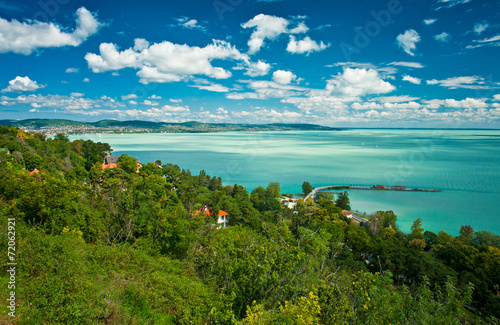 Lake Balaton in Hungary with nice clouds in summer Poster