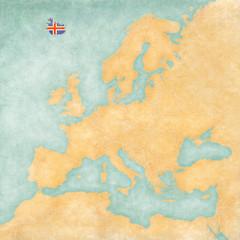 Map of Europe - Iceland (Vintage Series)