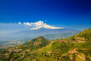 Etna with snowy peak
