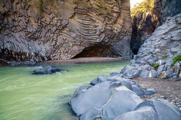 river and rocks at Alcantara Gorge