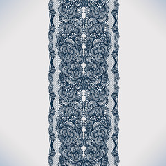 Lace ribbon seamless pattern with elements flowers