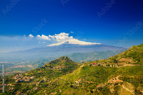 Tuinposter Vulkaan Etna with snowy peak