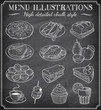 Vector Chalkboard Food Illustrations - 72063782