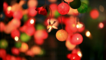 Christmas garland blurred lights background with different