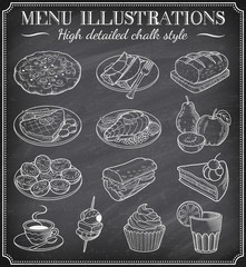 Vector Chalkboard Food Illustrations