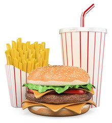 3D Hamburger with fries and drink
