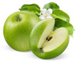 Green apples with flower isolated on white background