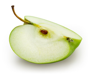 Green apple. Slice isolated on white. With clipping path