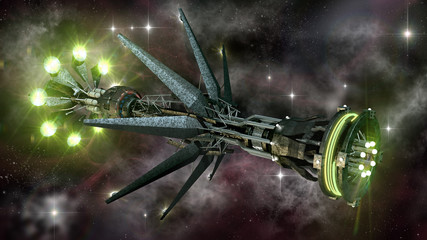 Spaceship in interstellar travel, on a galactic starfield
