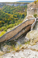 gorge mariam-dere and wall of chufut kale town