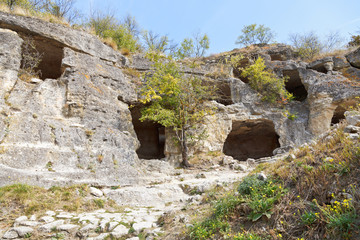Caves of ancient town chufut kale in Crimea