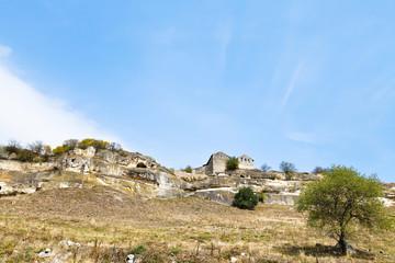 medieval town chufut-kale on mountain, Crimea