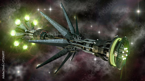 Spaceship in interstellar travel, on a galactic starfield