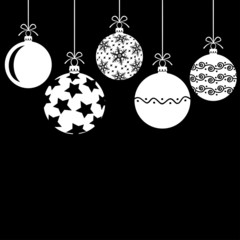 Christmas decorative white balls on black background