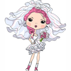 Vector Hipster girl bride in short wedding dress