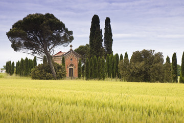 Small rural church in Tuscany countryside