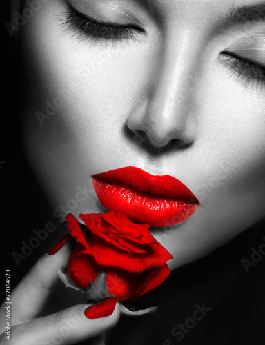 canvas print picture Beautiful sexy woman  with red lips, nails and rose flower