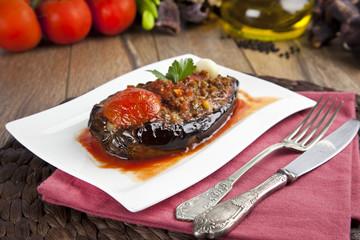 Aubergine Eggplant Meal - Karniyarik (Riven Belly)