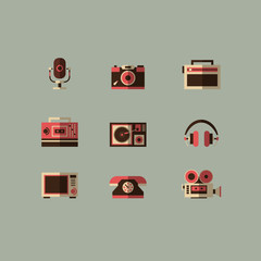 Retro media devices icons set vector